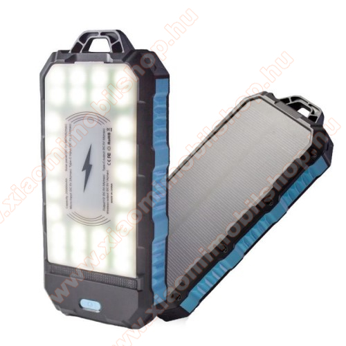 NAPELEMES vésztöltő töltő / hordozható töltő / QI Wireless hálózati töltő állomás - 20000mAh belső akku, Type-C, 2x USB port 5V/3A, karabiner, 34 LED-es zseblámpa, állítható telefontartó, QI töltés, fogadóegység nélkül! - FEKETE