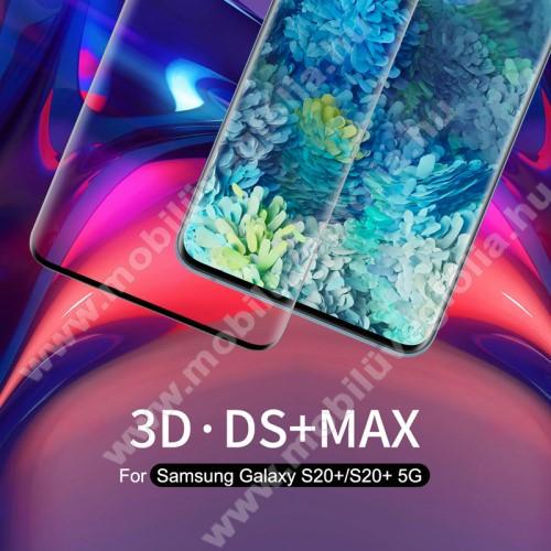 NILLKIN 3D DS+ MAX előlap védő karcálló edzett üveg - 0,23mm, 9H, A teljes felületén tapad! - FEKETE - A TELJES KIJELZŐT VÉDI! - SAMSUNG SM-G985F Galaxy S20+ / SAMSUNG SM-G986F Galaxy S20+ 5G - GYÁRI