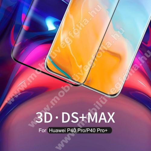 NILLKIN 3D DS+ MAX előlap védő karcálló edzett üveg - 0,23mm, 9H, A teljes felületén tapad! - FEKETE - A TELJES KIJELZŐT VÉDI! - HUAWEI P40 Pro / Huawei P40 Pro Plus 5G - GYÁRI