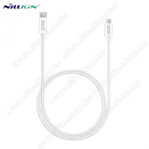 NILLKIN adatátvitel adatkábel / USB töltõ - Type-C / microUSB - 1m hosszú, gumírozott kábelkivitel, gyorstöltés támogatás - FEHÉR - GYÁRI