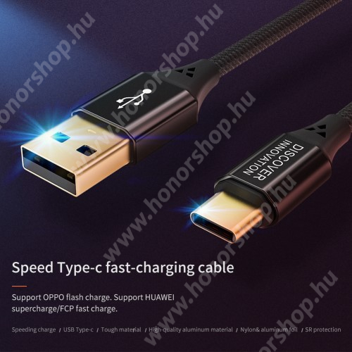 HUAWEI Honor 9 NILLKIN adatátviteli kábel / USB töltő - USB 3.1 Type C, 5A, 1m, szövettel bevont, gyorstöltés támogatás - FEKETE - GYÁRI