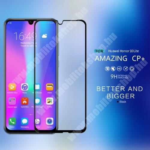 NILLKIN AMAZING CP+ előlap védő karcálló edzett üveg - FEKETE - 9H, 0,3mm - A TELJES KIJELZŐT VÉDI! - HUAWEI P Smart (2019) / HUAWEI Honor 10 Lite - GYÁRI