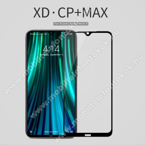 NILLKIN AMAZING CP+ MAX előlap védő karcálló edzett üveg - FEKETE - 9H, 0,3mm - A TELJES KIJELZŐT VÉDI! - Xiaomi Redmi Note 8 - GYÁRI