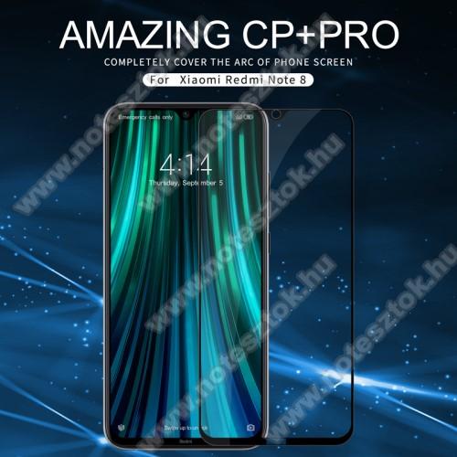 NILLKIN AMAZING CP+ PRO előlap védő karcálló edzett üveg - FEKETE - 9H, 0,3mm - A TELJES KIJELZŐT VÉDI! - Xiaomi Redmi Note 8 - GYÁRI