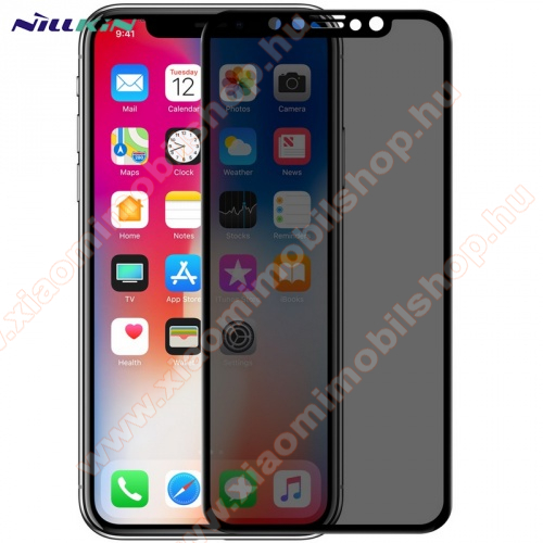 NILLKIN AP+MAX képernyővédő üvegfólia (3D, full glue, teljes felületén tapad, betekintés ellen, 0.33mm, 9H) FEKETE - APPLE iPhone 11 Pro / APPLE iPhone X / APPLE iPhone XS - GYÁRI