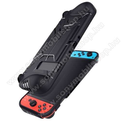NILLKIN Battler szilikon védő tok / hátlap - csúszásgátló - FEKETE - Nintendo Switch - GYÁRI