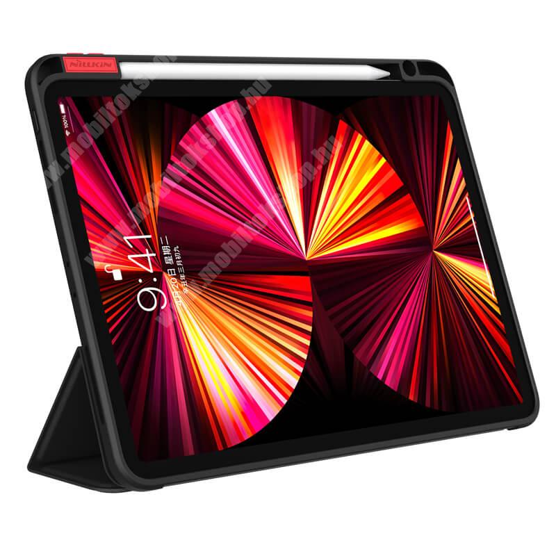NILLKIN BEVEL notesz / mappa tok - FEKETE - oldalra nyíló aktív flip cover, asztali tartó funkciós, szilikon belső, ceruzatartó - APPLE iPad Pro 11 (2020) / iPad Pro 11 (2021) - GYÁRI