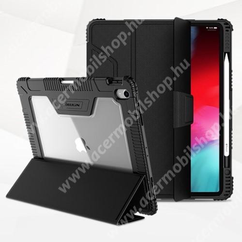 NILLKIN Bumper notesz / mappa tok - FEKETE - oldalra nyíló flip cover, műanyag átlátszó hátlap, szilikon szegély, asztali tartó funkciós, mágneses záródás, erősített sarkok, ceruzatartó - APPLE iPad Pro 12.9 (2018)