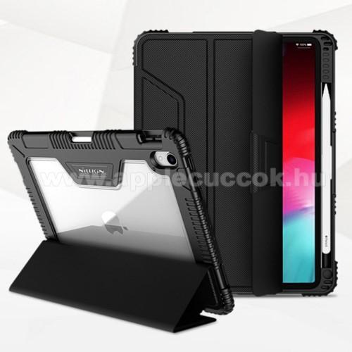 NILLKIN Bumper notesz / mappa tok - FEKETE - oldalra nyíló flip cover, műanyag átlátszó hátlap, szilikon szegély, asztali tartó funkciós, mágneses záródás, erősített sarkok, ceruzatartó - APPLE iPad Pro 11 (2018)