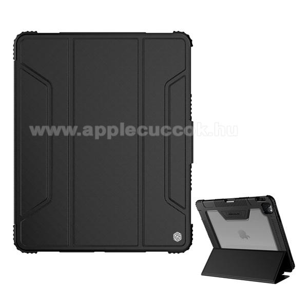 NILLKIN Bumper notesz / mappa tok - FEKETE - oldalra nyíló flip cover, műanyag átlátszó hátlap, szilikon szegély, asztali tartó funkciós, mágneses záródás, erősített sarkok, ceruzatartó - APPLE iPad Pro 12.9 (2020)