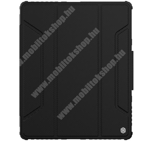 NILLKIN BUMPER PRO notesz / mappa tok - FEKETE - átlátszó hálap, kameravédő, oldalra nyíló flip cover, szilikon belső, asztali tartó funkciós, mágneses záródás - APPLE iPad Pro 12.9 (2020) / iPad Pro 12.9 (2021) - GYÁRI