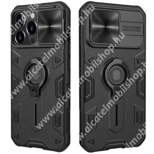 NILLKIN CAMSHIELD ARMOR műanyag védőtok - FEKETE - szilikon betétes, kamera védő fedéllel, ujjgyűrűvel, kitámasztható, ERŐS VÉDELEM - APPLE iPhone 13 Pro Max - GYÁRI
