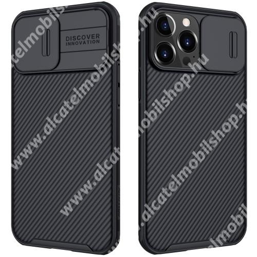 NILLKIN CamShield Pro műanyag védőtok, szilikon betétes, kamera védő fedéllel, ERŐS VÉDELEM - FEKETE - APPLE iPhone 13 Pro Max - GYÁRI