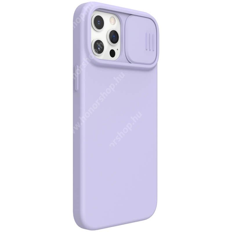 NILLKIN CAMSHIELD SILKY szilikon védőtok, kamera védő fedéllel, mikroszálas szövettel bevont belsővel - LILA - APPLE iPhone 12 Pro Max - GYÁRI