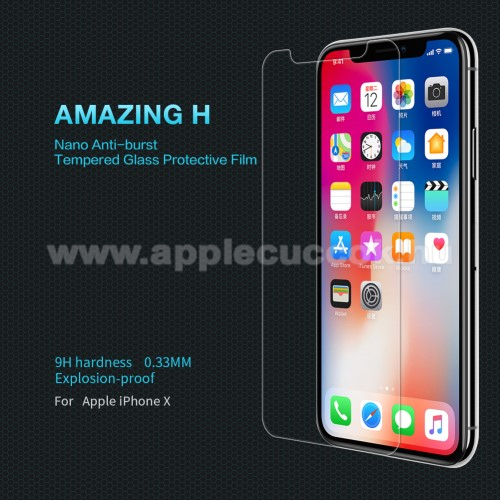 APPLE iPhone XS NILLKIN előlap védő karcálló edzett üveg, Amazing H - APPLE iPhone X / APPLE iPhone XS - GYÁRI