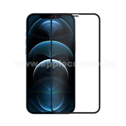 NILLKIN előlap védő karcálló edzett üveg - FEKETE - 9H, 0,3mm, A teljes felületén tapad! - A TELJES KIJELZŐT VÉDI! - APPLE iPhone 12 mini - GYÁRI