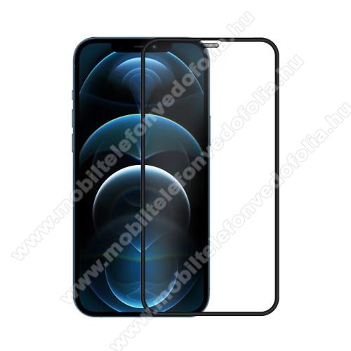 NILLKIN előlap védő karcálló edzett üveg - FEKETE - 9H, 0,3mm, A teljes felületén tapad! - A TELJES KIJELZŐT VÉDI! - APPLE iPhone 12 Pro Max - GYÁRI