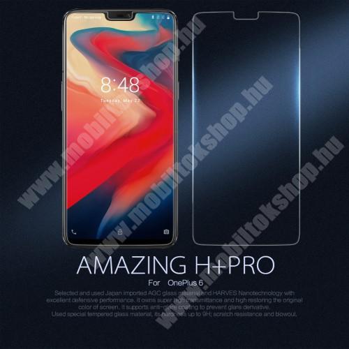 NILLKIN H+PRO előlap védő karcálló edzett üveg - 0,2 mm vékony, 9H, kamera lencsevédő fóliával - OnePlus 6 - GYÁRI