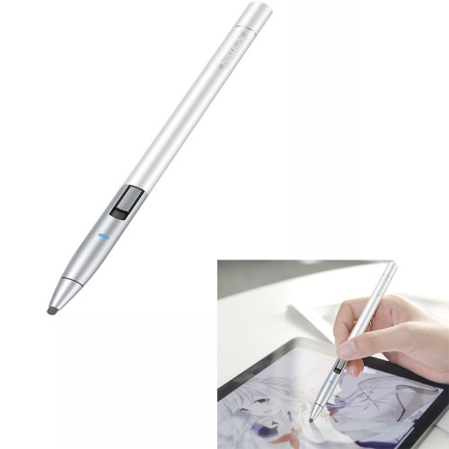 NILLKIN iSketch érintőképernyő ceruza - kapacitív kijelzőkhöz, aktív érzékelő technológia, 3 különböző állítható érzékenység, 110mA beépített akkumulátorral, kézírásra, rajzolásra is alkalmas, 10 órás üzemidő - EZÜST - Dr1 - GYÁRI