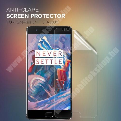 NILLKIN képernyővédő fólia - Anti-Glare - MATT! - 1db, törlőkendővel - OnePlus 3 - GYÁRI