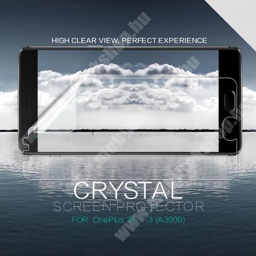 NILLKIN képernyővédő fólia - Clear - 1db, törlőkendővel - OnePlus 3 - GYÁRI