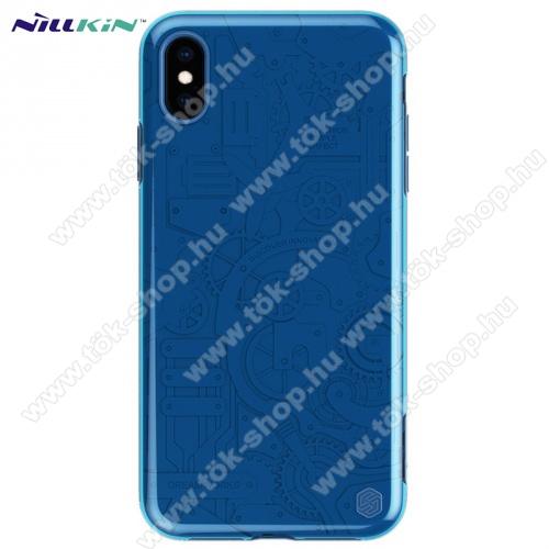 NILLKIN MACHINERY műanyag védő tok / hátlap (szilikon keret, fogaskerék minta) KÉK - APPLE iPhone XS Max 6.5 - GYÁRI