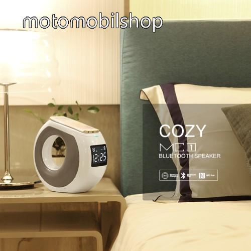 NILLKIN MC1 hordozható bluetooth hangszóró és kihangosító - QI Wireless vezeték nélküli töltő, NFC funkció, LCD kijelző óra, USB töltő - FEHÉR