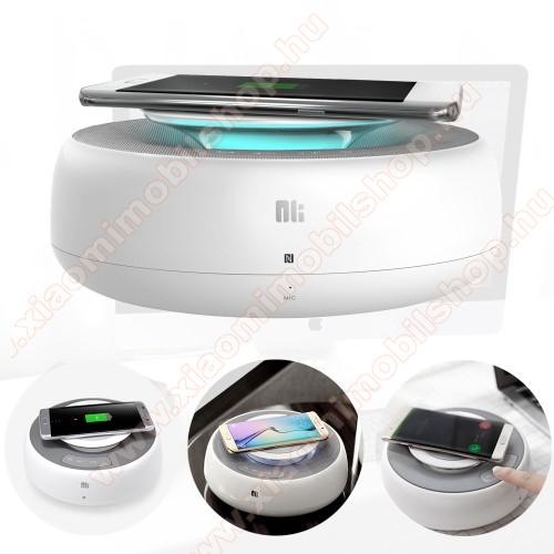 NILLKIN MC2 hordozható bluetooth hangszóró és kihangosító - QI Wireless vezeték nélküli töltő, NFC funkció, AUX, USB töltő (5V/2A, 9V/2A, 12V/1.5A) - FEHÉR