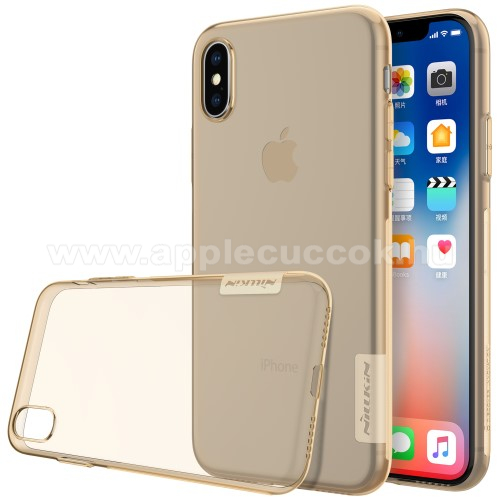 APPLE iPhone X NILLKIN Nature Slim szilikon védő tok / hátlap - 0,6mm - ARANY - APPLE iPhone X / APPLE iPhone XS - GYÁRI