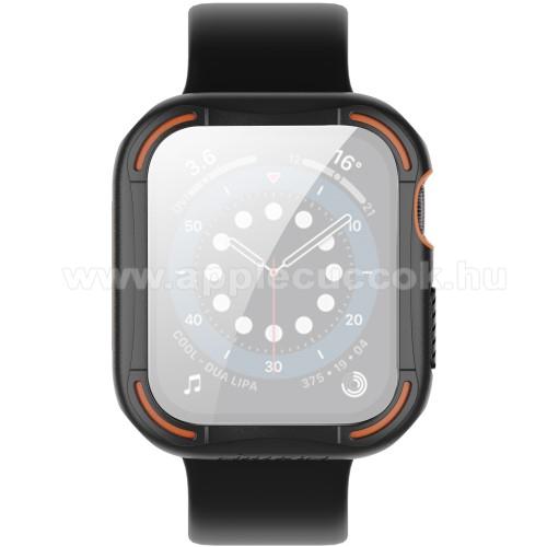 NILLKIN Okosóra műanyag védő tok / szilikon keret - Előlap védő karcálló edzett üveg - 1db, 9H, 3D - A TELJES ELŐLAPOT VÉDI! - FEKETE - APPLE Watch Series 4/5/6 44mm / Watch SE 44mm