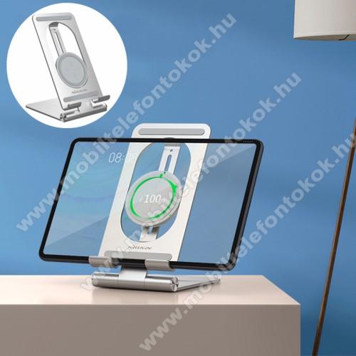 NILLKIN PowerHold UNIVERZÁLIS asztali töltő / alumínium állvány - EZÜST - QI Wireless vezetéknélküli töltő funkció, 15W (max), gyorstöltés támogatás, állítható, Type-C / USB kábellel, tablethez is alkalmas, fogadóegység NÉLKÜL! - GYÁRI