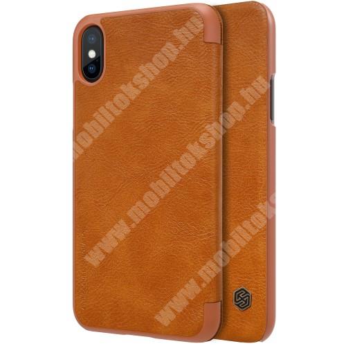 APPLE iPhone XS NILLKIN QIN notesz tok / flip tok - oldalra nyíló flip cover - BARNA - APPLE iPhone X / APPLE iPhone XS - GYÁRI