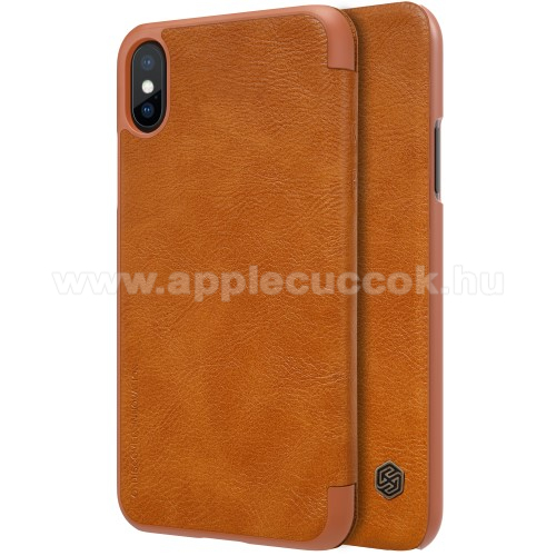 NILLKIN QIN notesz tok / flip tok - oldalra nyíló flip cover - BARNA - APPLE iPhone X / APPLE iPhone XS - GYÁRI