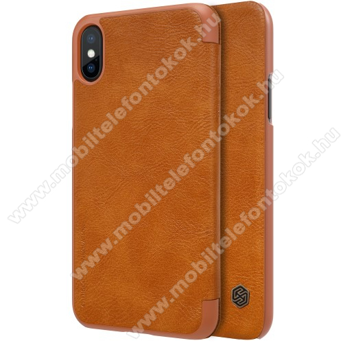 APPLE iPhone XS NILLKIN QIN notesz tok / flip tok - oldalra nyíló flip cover - BARNA - APPLE iPhone X / APPLE iPhone XS - GYÁRI