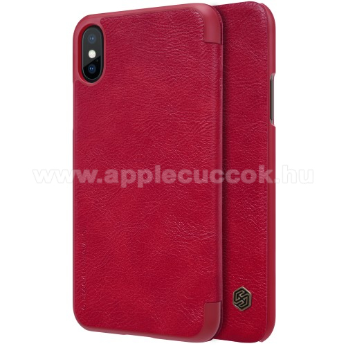 APPLE iPhone XS NILLKIN QIN notesz tok / flip tok - oldalra nyíló flip cover - PIROS - APPLE iPhone X / APPLE iPhone XS - GYÁRI