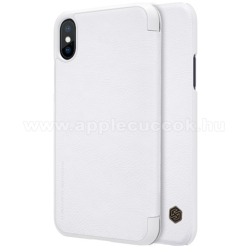 APPLE iPhone XS NILLKIN QIN notesz tok / flip tok - oldalra nyíló flip cover - FEHÉR - APPLE iPhone X / APPLE iPhone XS - GYÁRI