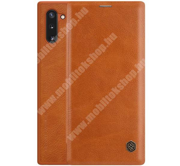 NILLKIN QIN notesz tok / flip tok - oldalra nyíló flip cover, bankkártyatartó zseb, műanyag belső - BARNA - SAMSUNG SM-N970F Galaxy Note10 / SAMSUNG SM-N971U Galaxy Note10 5G - GYÁRI