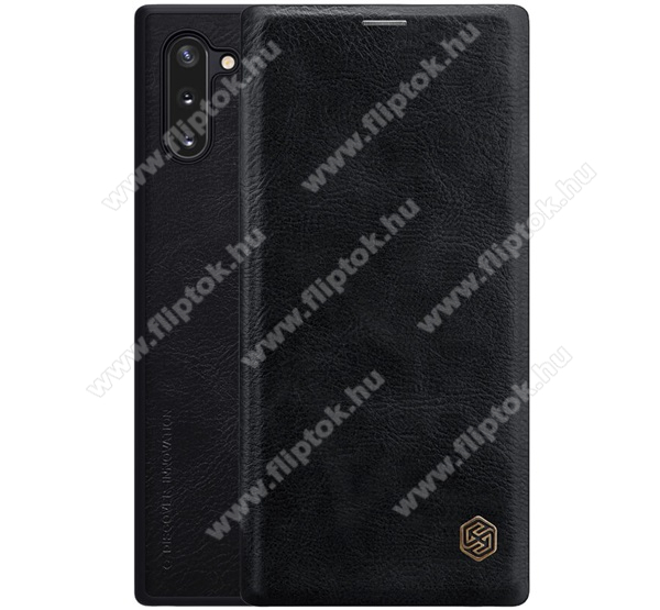 NILLKIN QIN notesz tok / flip tok - oldalra nyíló flip cover, bankkártyatartó zseb, műanyag belső - FEKETE - SAMSUNG SM-N970F Galaxy Note10 / SAMSUNG SM-N971U Galaxy Note10 5G - GYÁRI
