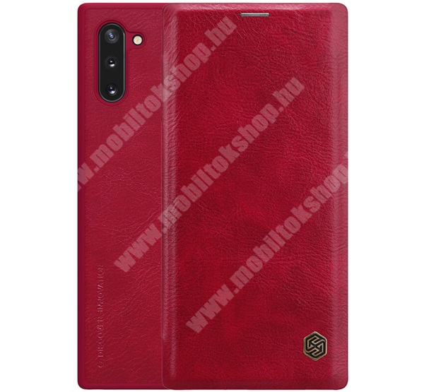 NILLKIN QIN notesz tok / flip tok - oldalra nyíló flip cover, bankkártyatartó zseb, műanyag belső - PIROS - SAMSUNG SM-N970F Galaxy Note10 / SAMSUNG SM-N971U Galaxy Note10 5G - GYÁRI