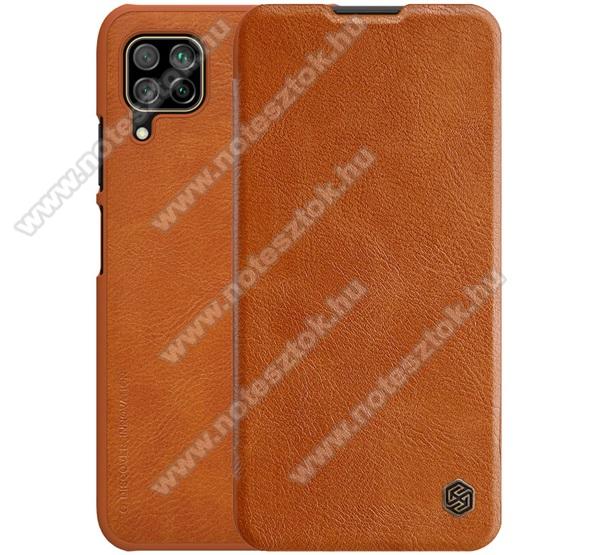 NILLKIN QIN notesz tok / flip tok - oldalra nyíló flip cover, bankkártyatartó zseb, műanyag belső - BARNA - HUAWEI P40 Lite / Huawei Nova 7i / Huawei nova 6 SE - GYÁRI