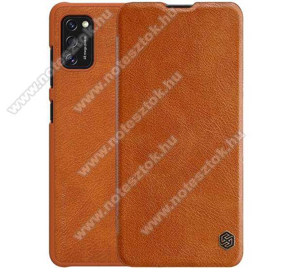 NILLKIN QIN notesz tok / flip tok - oldalra nyíló flip cover, bankkártyatartó zseb, műanyag belső - BARNA - SAMSUNG Galaxy A41 (SM-A415F) - GYÁRI