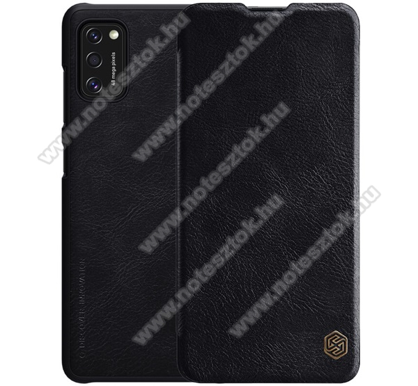 NILLKIN QIN notesz tok / flip tok - oldalra nyíló flip cover, bankkártyatartó zseb, műanyag belső - FEKETE - SAMSUNG Galaxy A41 (SM-A415F) - GYÁRI