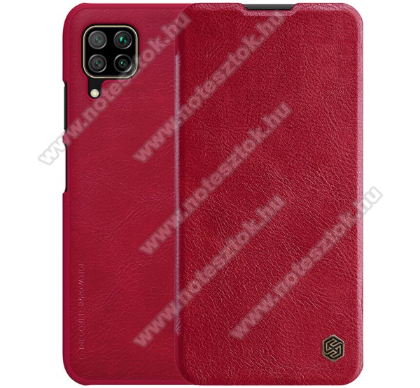 NILLKIN QIN notesz tok / flip tok - oldalra nyíló flip cover, bankkártyatartó zseb, műanyag belső - PIROS - HUAWEI P40 Lite / Huawei Nova 7i / Huawei nova 6 SE - GYÁRI