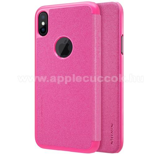 NILLKIN SPARKLE műanyag védő tok / hátlap - RÓZSASZÍN - oldalra nyíló flip cover - APPLE iPhone X / APPLE iPhone XS - GYÁRI