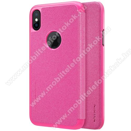 APPLE iPhone XSNILLKIN SPARKLE műanyag védő tok / hátlap - RÓZSASZÍN - oldalra nyíló flip cover - APPLE iPhone X / APPLE iPhone XS - GYÁRI