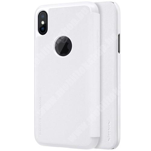APPLE iPhone XS NILLKIN SPARKLE műanyag védő tok / hátlap - FEHÉR - oldalra nyíló flip cover - APPLE iPhone X / APPLE iPhone XS - GYÁRI