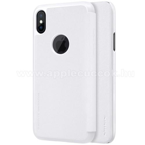 APPLE iPhone XSNILLKIN SPARKLE műanyag védő tok / hátlap - FEHÉR - oldalra nyíló flip cover - APPLE iPhone X / APPLE iPhone XS - GYÁRI