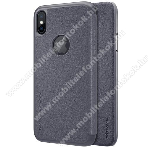 APPLE iPhone XSNILLKIN SPARKLE műanyag védő tok / hátlap - FEKETE - oldalra nyíló flip cover - APPLE iPhone X / APPLE iPhone XS - GYÁRI