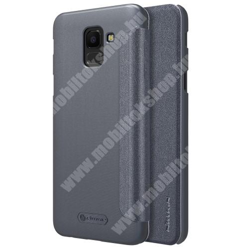 NILLKIN SPARKLE műanyag védő tok / hátlap - FEKETE - oldalra nyíló flip cover - SAMSUNG SM-J600F Galaxy J6 (2018) - GYÁRI