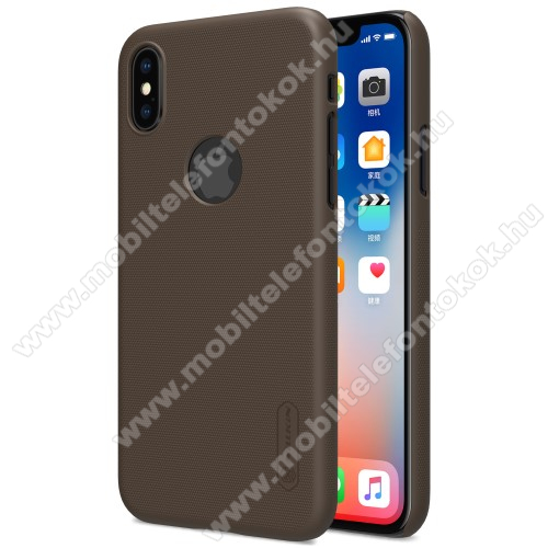 APPLE iPhone XS NILLKIN SUPER FROSTED műanyag védő tok / hátlap - képernyővédő fólia - érdes felület - BARNA - APPLE iPhone X / APPLE iPhone XS - GYÁRI